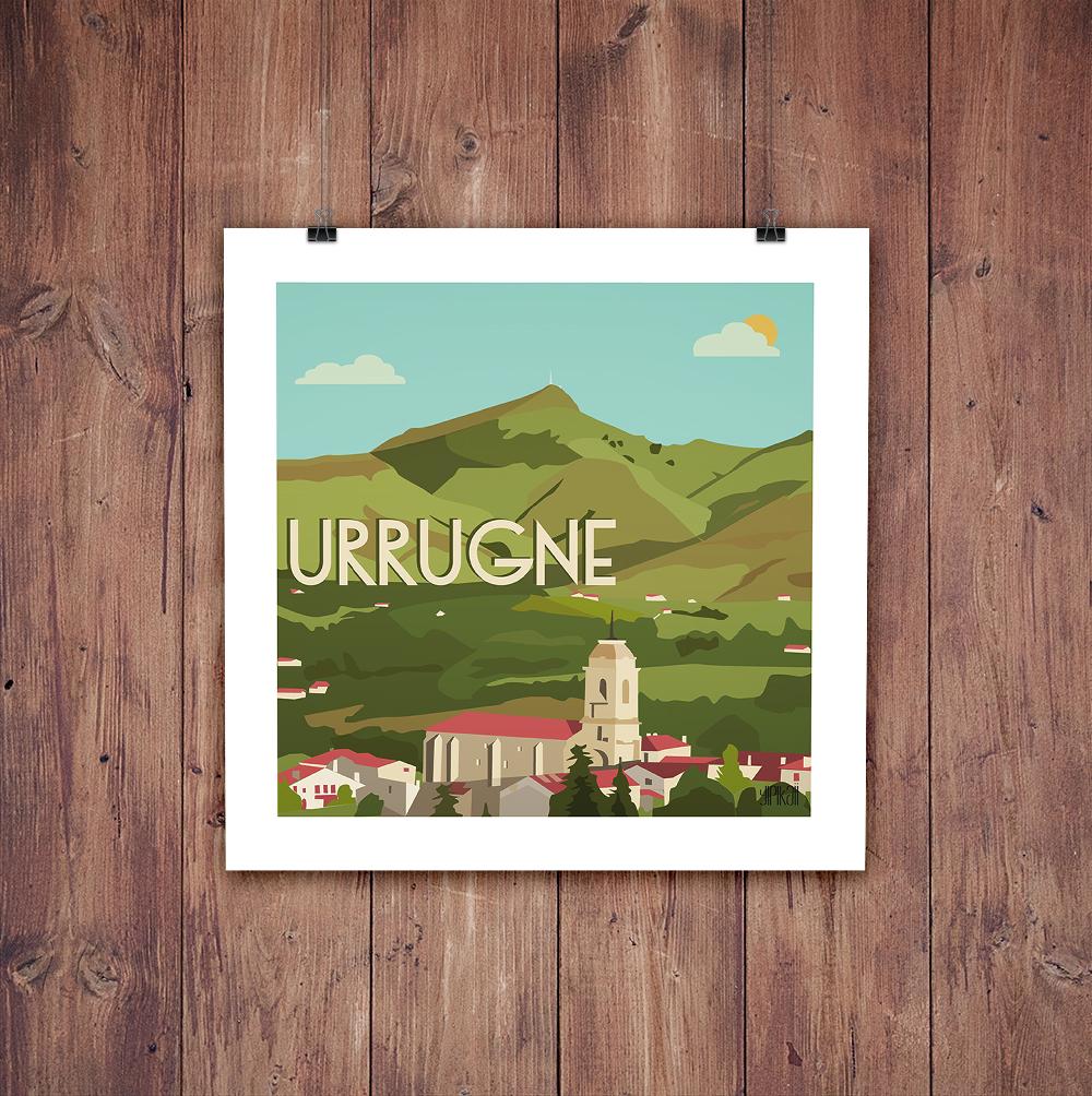 Présentation suspendue de l'affiche Urrugne au Pays-Basque